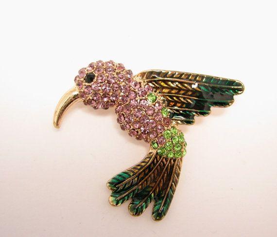 Purple Hummingbird Brooch Green Broach Bird by LiasJewelry on Etsy
