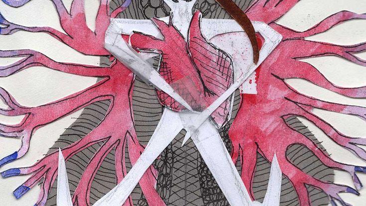 Work in Progress: Heart and Bones   woodburning, engraving, art, artwork, pink, purple, black, texture, nature, patterns, nest, moody, sketchbook, sketch, collage, paper, cutout, ink, skeleton