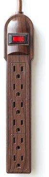 The Invisiplug DO003 6-Outlet Power Strip, Dark Oak traditional cable management   houzz.com