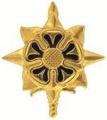 Military Intelligence Pin - The officer branch insignia is a gold-colored metal dagger, point up, 11⁄4 inches overall in height, upon which there is a gold-colored metal heraldic sun composed of four straight and four wavy alternating rays, surmounted by a gold heraldic rose with dark blue enamel petals.