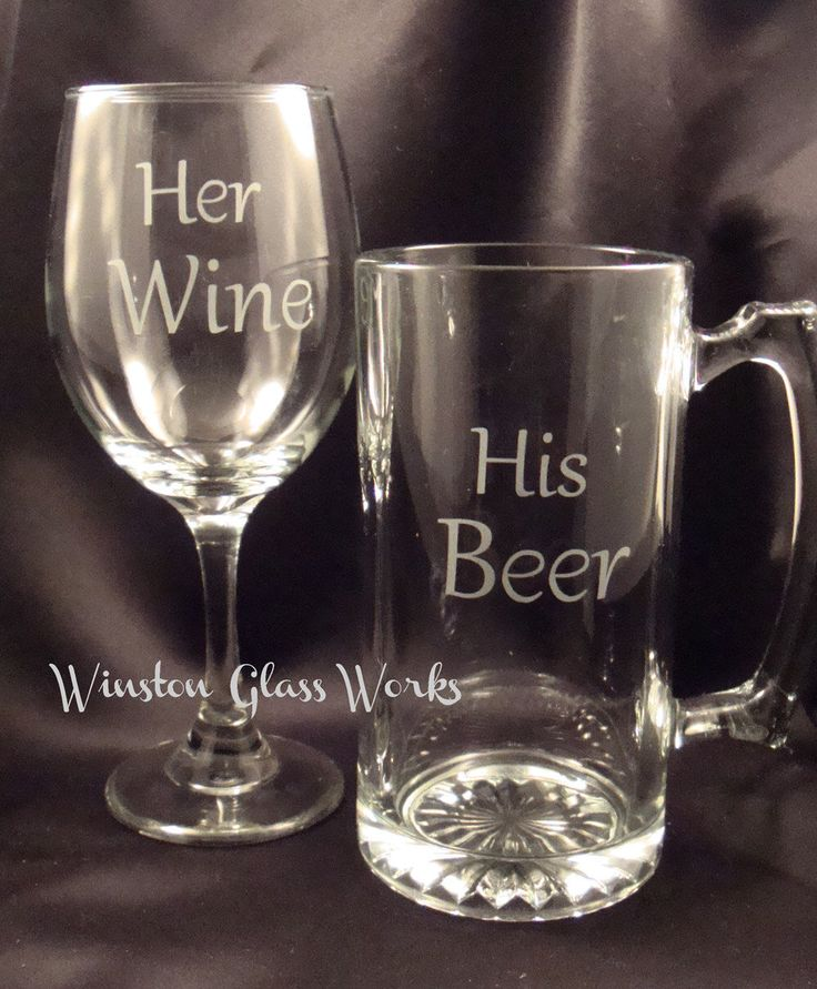His Beer Mega Beer Mug and Her Wine Large Wine Glass - Set of Two by winstonglassworks on Etsy https://www.etsy.com/listing/204961353/his-beer-mega-beer-mug-and-her-wine