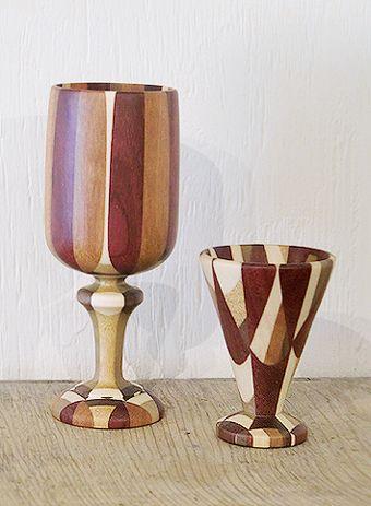 金指さんの寄木細工、ワイングラス