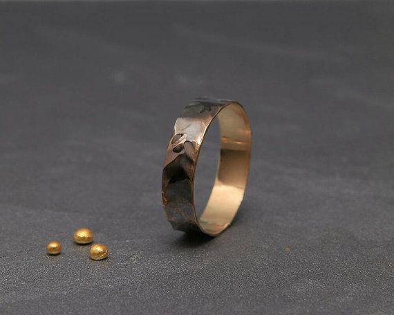 Schwarz 14k Gold Herren Ehering | Handgefertigte 14 k solid gold grobe facettierten Männer Eheringe | 3mm, 4mm, 5mm, 6mm, 7mm