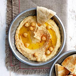 Hummus || staafmixer || kikkererwten, citroen, tahin (sesampasta), knoflook, olijfolie, paprikapoeder