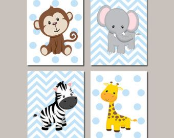 JUNGLE Nursery Wall Art Jungle Animals Art by LovelyFaceDesigns
