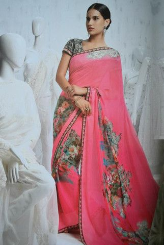 Pink Color Chiffon Printed Sarees : Pankti Collection YF-21236