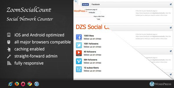 ZoomSocialCount - Social Networks Counter for Word   http://codecanyon.net/item/zoomsocialcount-social-networks-counter-for-word/4189245?ref=damiamio      Intro – top      ZoomSocial – WordPress Social Count Pluginis a cool social addition to your wordpress site that enables counters of your favorite social networks to appear on the screen. Setup is very easy – just setup the plugin and from there, you can place it where you want in your content via shortcodes or in sidebars via a widget…