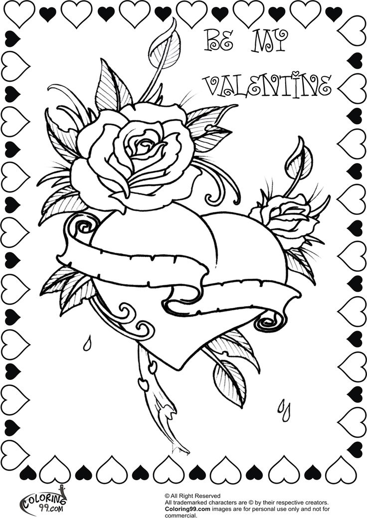 beautiful rose heart valentine coloring pages