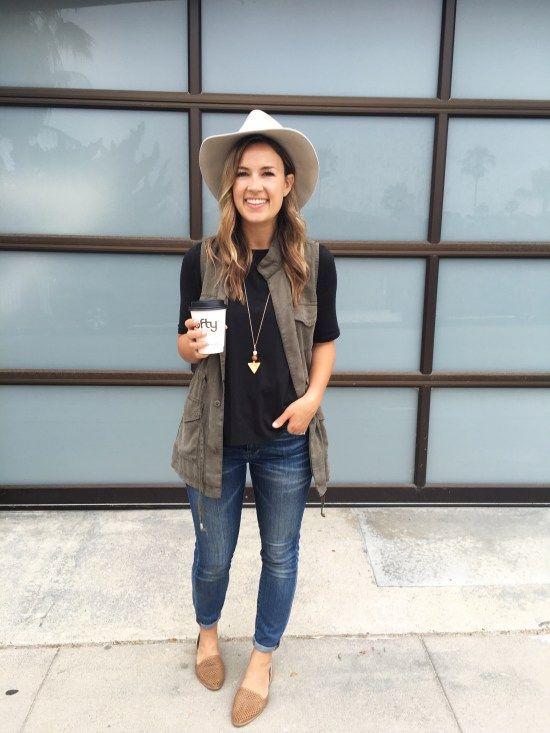 black tee, utility vest, distressed skinny jeans, brown flats
