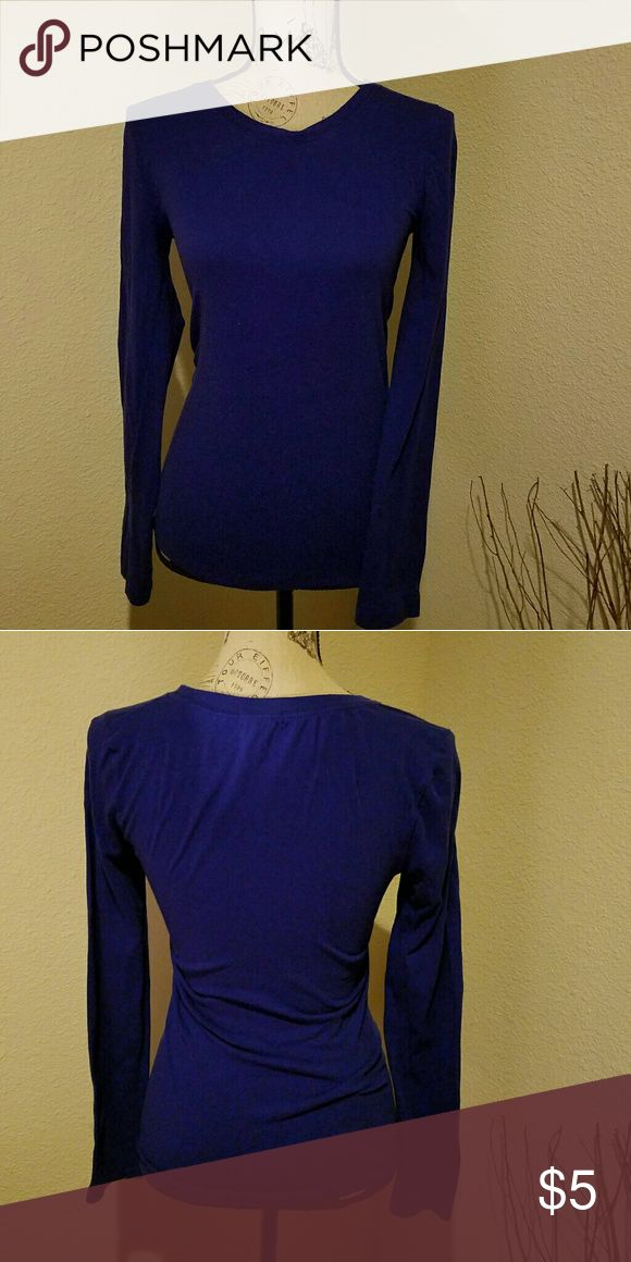 L/S DEEP❤ BLUE TEE Good condition....worn a few times and washed.   Runs more like a medium. Tops Tees - Long Sleeve