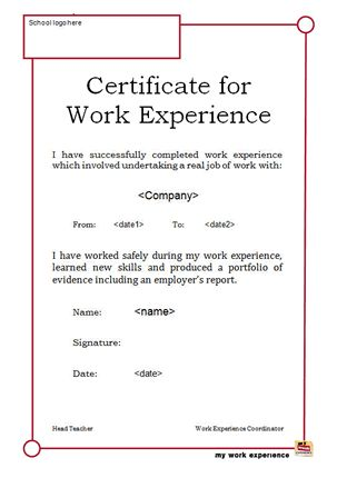 Awesome Collection Of format Of Job Experience Certificate ...