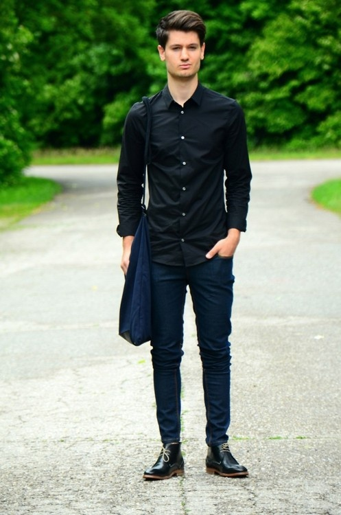 Black meets navy giveaway by eros buzza guy 39 s Black shirt blue jeans