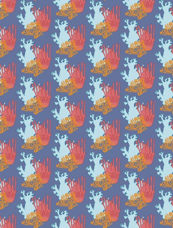 Vector drawn corals pattern design