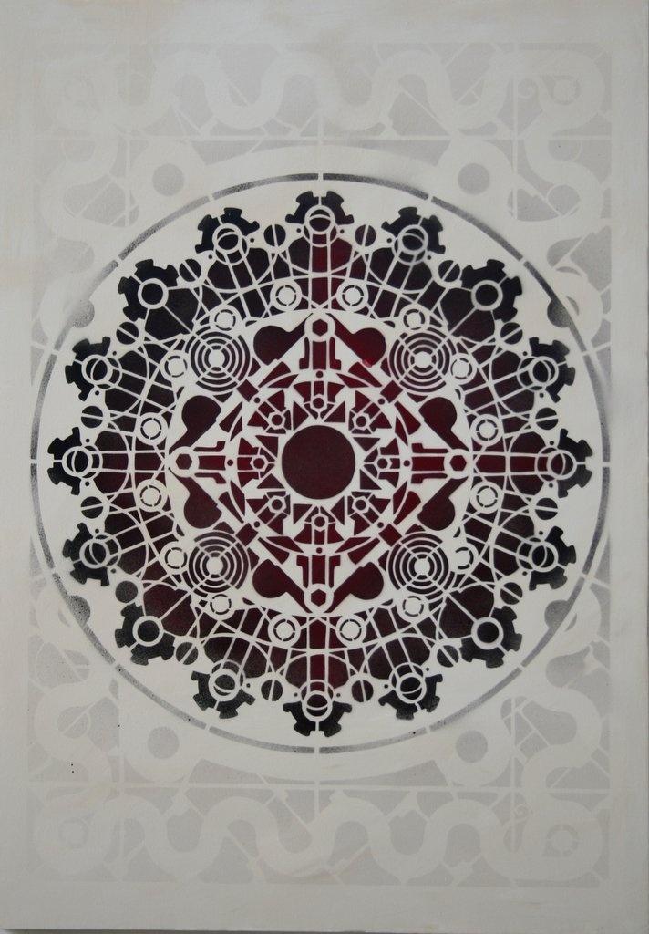 #stencil  #mandala - CNOSSO 70x100 cm #spray on canvas