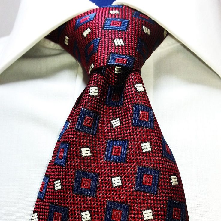 Jos. A. Bank Silk Tie Red Navy Geometric Woven  CEO Corporate Collection 60 Long #JosABank #NeckTie