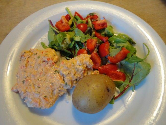 Recept: Vit fisk med fetaost/tomat/basilikatäcke