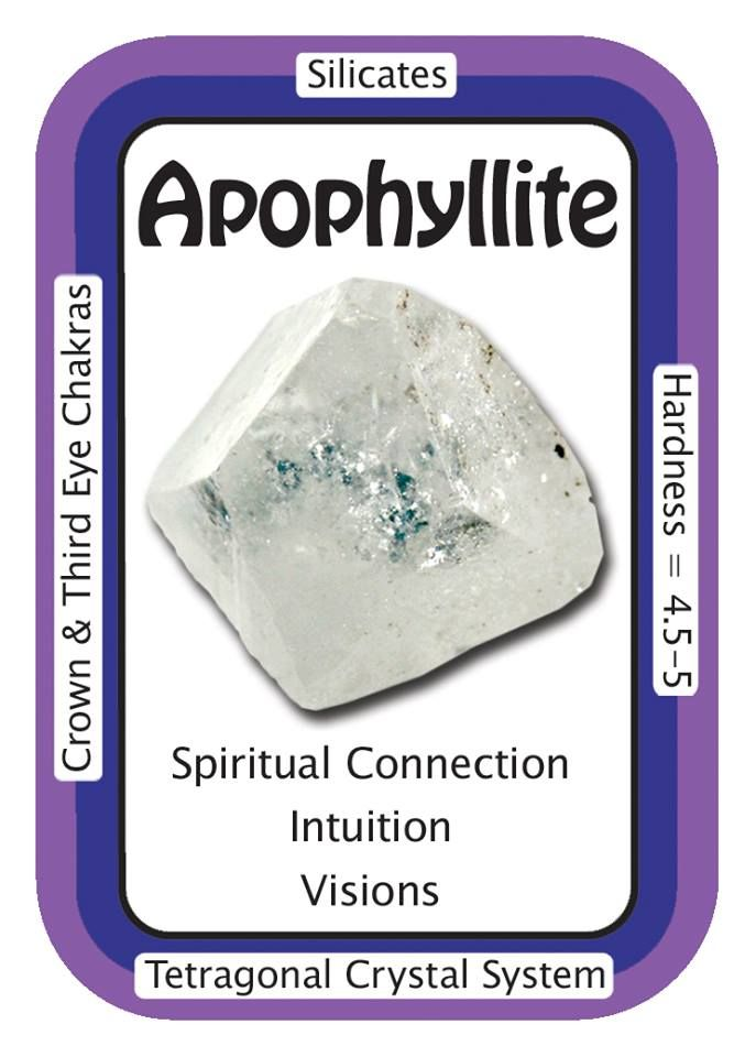 "Apophyllite, ""I trust my intuition and divine knowledge.""  Apophyllite can help to increase intuition, connect with guides, and practice remote viewing and astral travel. While Apophyllite is predominantly a spiritual crystal, it  can regulate bodily functions and improve memory.  Code HCPIN10 = 10% discount   www.healingcrystals.com/advanced_search_result.php?dropdown=Search+Products...&keywords=apophyllite  www.healingcrystals.com/Crystal_Information_Cards___Oracle_Decks_1__2_and_3.html"