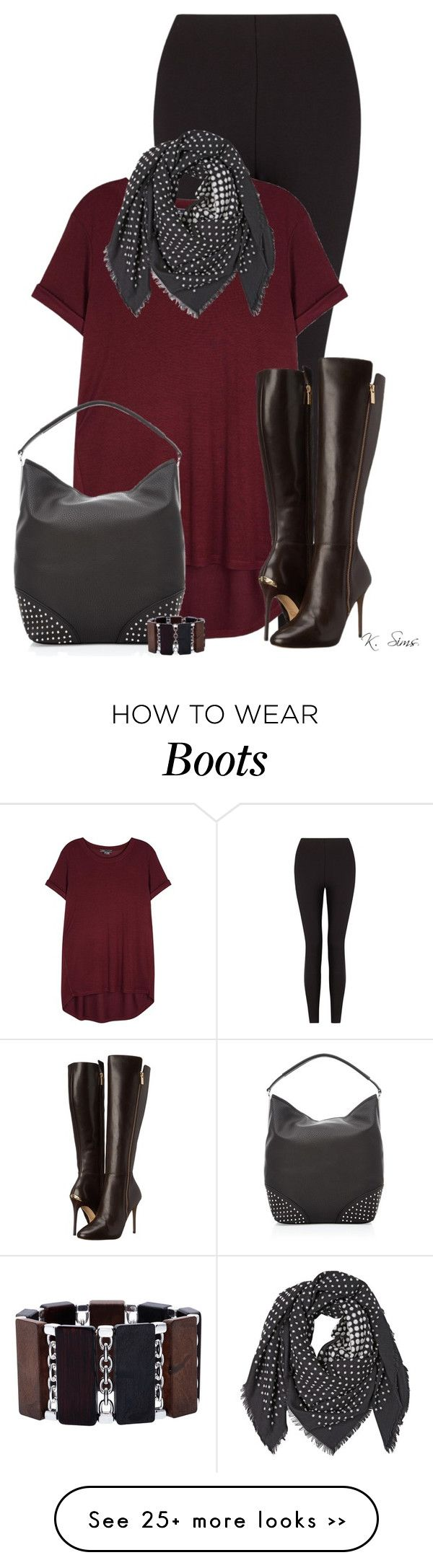 """""""Welcome to the Darkside: Boots & Scarves"""" by ksims-1 on Polyvore featuring Lyssé Leggings, Vince, Alexander McQueen, MICHAEL Michael Kors and Alexa Starr"""