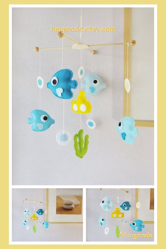 Baby Mobile - Fish Mobile - Under the Sea Mobile - Angel Fish and Yellow Submarine Mobile (Custom color available)