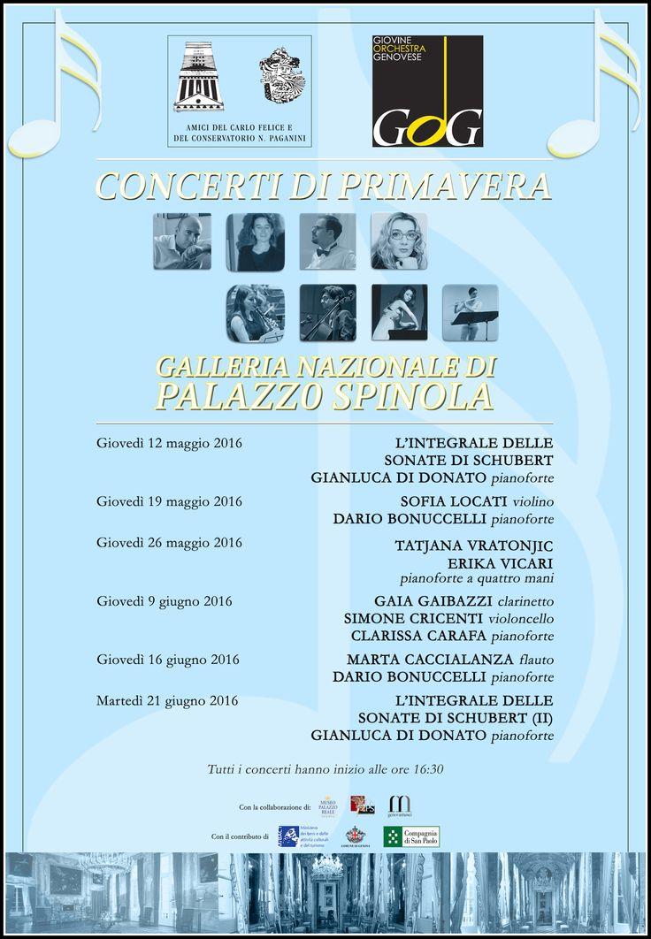I Concerti di Primavera, dal 31 marzo al 21 giugno 2016   Associazione Amici del Carlo Felice e del Conservatorio N. Paganini   Programma dei conceri alla Galleria Nazionale di Palazzo Spinola