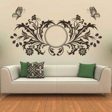 Butterfly Design Floral Circle Wall Art Sticker   Butterfly Wall Stickers    Animals Part 76