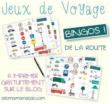 """Les Occuper en Voiture: Jeux de Voyage """"bingo de la route"""" à imprimer"""