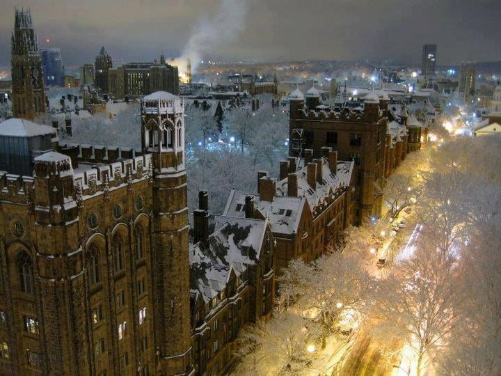 Snowy Night Yale University New Haven  Places to Visit