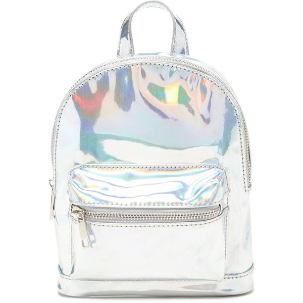 Forever 21 Holographic Mini Backpack ($20) ❤ liked on Polyvore featuring bags, backpacks, day pack backpack, white bags, mini zipper bags, forever 21 and zipper bag