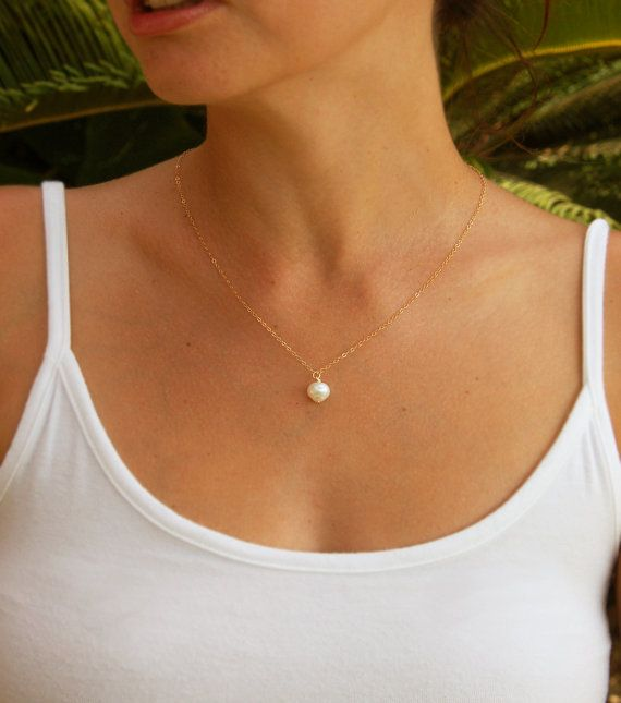 Single+pearl+necklace+bridesmaids+necklace+Wedding+by+lovemay28,+$25.00