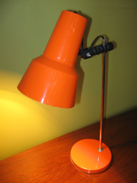 Bright ORANGE Retro Metal DESK LAMP from the by HousewifeVintage, $29.00