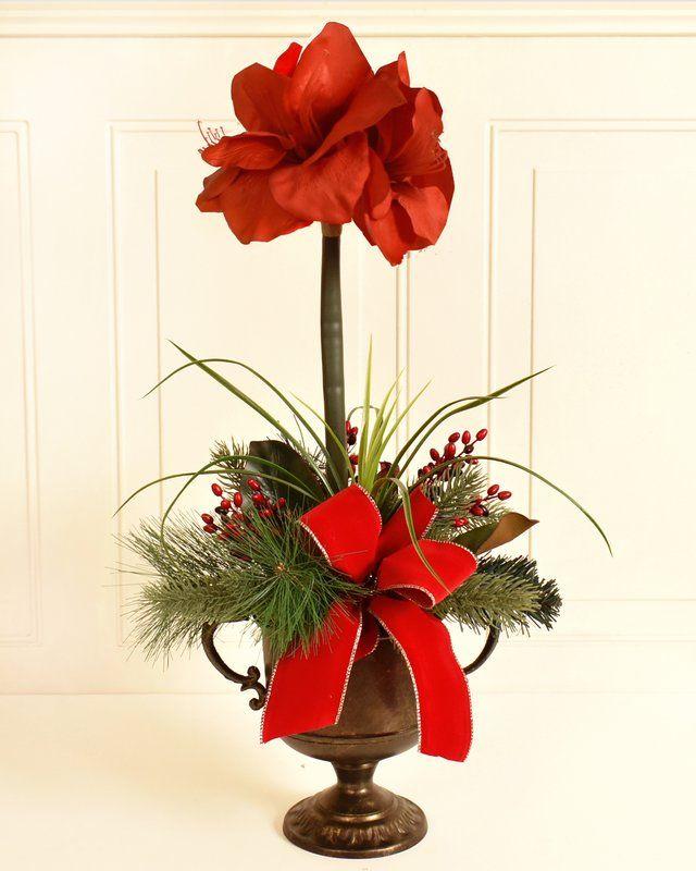 Amaryllis Christmas Mixed Floral Arrangement Christmas Arrangements Amaryllis Christmas Christmas Decorations
