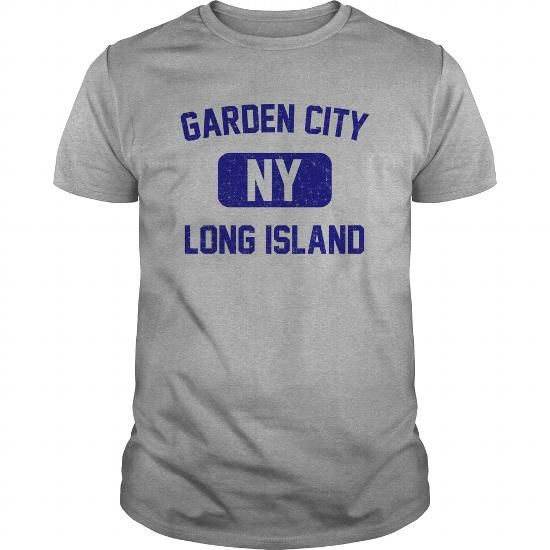 Awesome Tee Garden City Long Island NY Distressed Print Retro Phys Ed (Navy Blue Print) T shirts