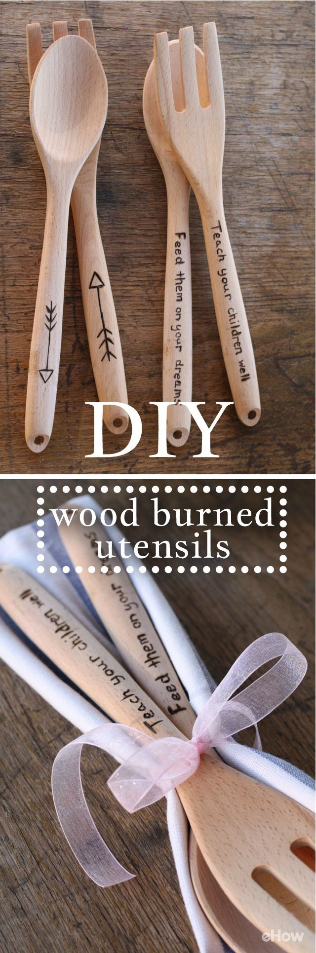 Personalize plain old wooden spoons or salad tongs with a simple to use wood burning tool and a pencil! This makes a terrific host or hostess gift. Get the how-to here: www.ehow.com/how_12340493_customize-serving-utensils-wood-burning-tool.html?utm_source=pinterest.com&utm_medium=referral&utm_content=inline&utm_campaign=fanpage