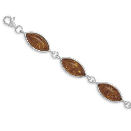 Sterling Silver 7 Inch Marquise Cognac Amber Bracelet 8x17mm Baltic Amber Links and Lobster Clasp JewelryWeb. $135.60