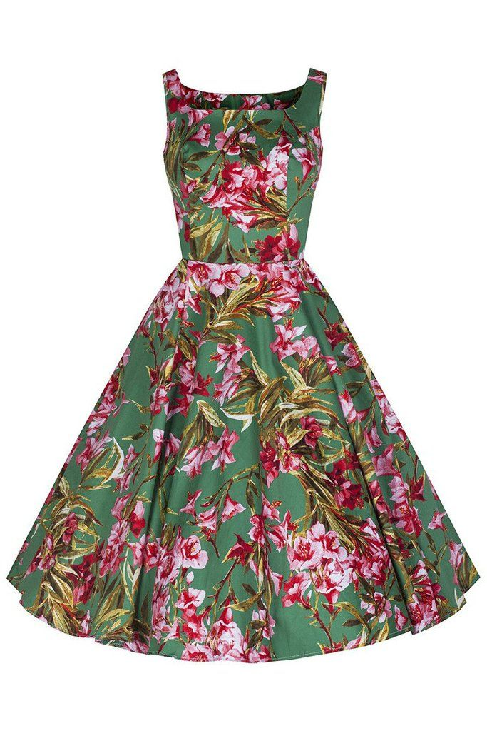 Green and Pink Vintage Floral Blossom Rockabilly 50s Swing Dress