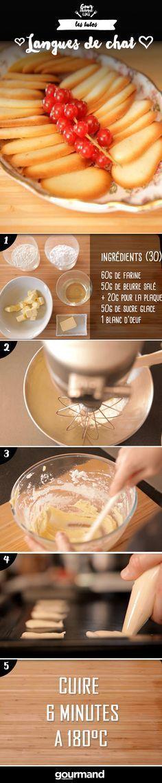 On récapitule : 1. Préchauffer le four à 180°. 2. Mélanger le sucre glace et le beurre jusqu'à obtention d'une crème onctueuse. 3. Monter en neige le blanc d'œuf. 4. L'incorporer doucement au mélange beurre – sucre glace. 5. Verser la farine en mélangeant. 6. Beurrer la plaque de cuisson. 7. Façonner les langues de chat avec une poche à douille ou avec deux petites cuillères en veillant à les espacer de façon régulière. 8. Passer 6 minutes au four. 9. Laisser tiédir les langues de chat.