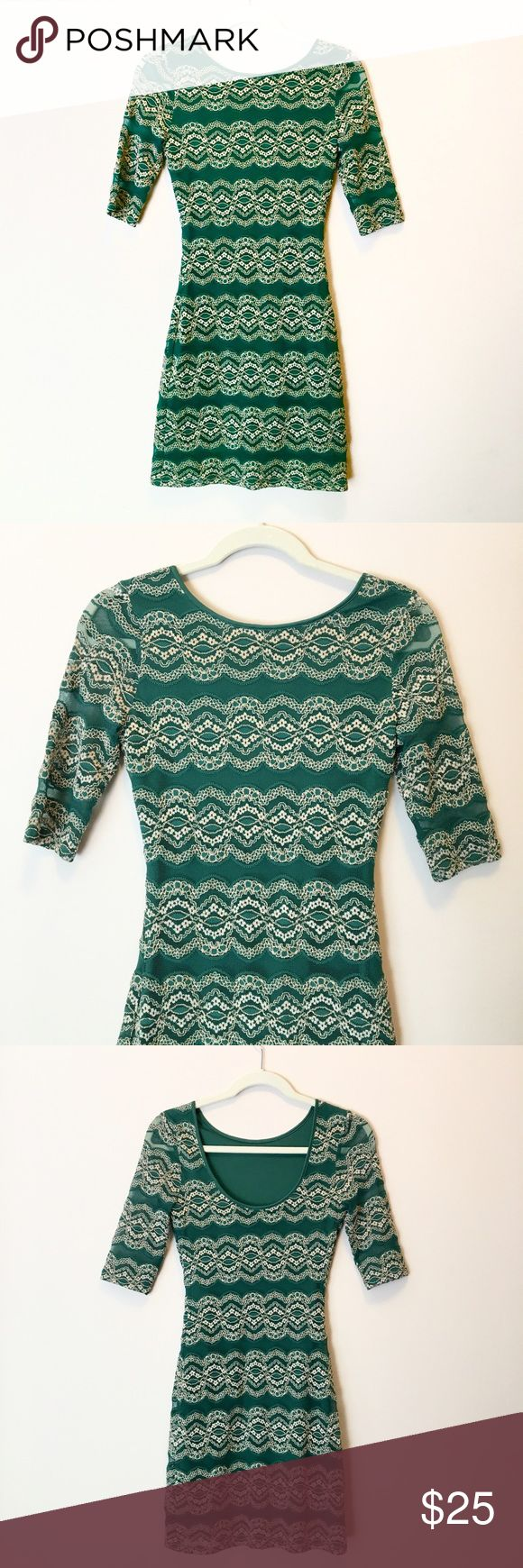 Gianni Bini Green & Gold Lace Bodycon Dress Dark green bodycon dress with shimmery metallic gold lace stripes by Gianni Bini.  Three quarter length sleeves, low scoop back.  Size Extra-Small, XS.  Excellent condition! Gianni Bini Dresses Mini