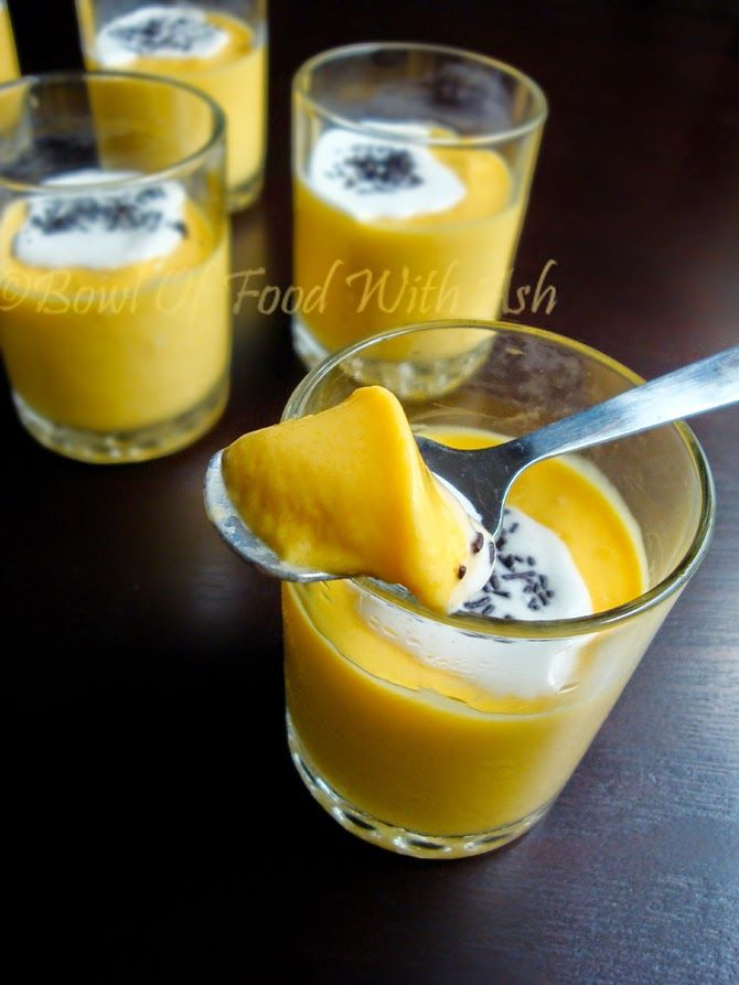 This Egg less Mango mousse is prepared by folding in Mango Pulp/Puree to Whipped Cream and set...