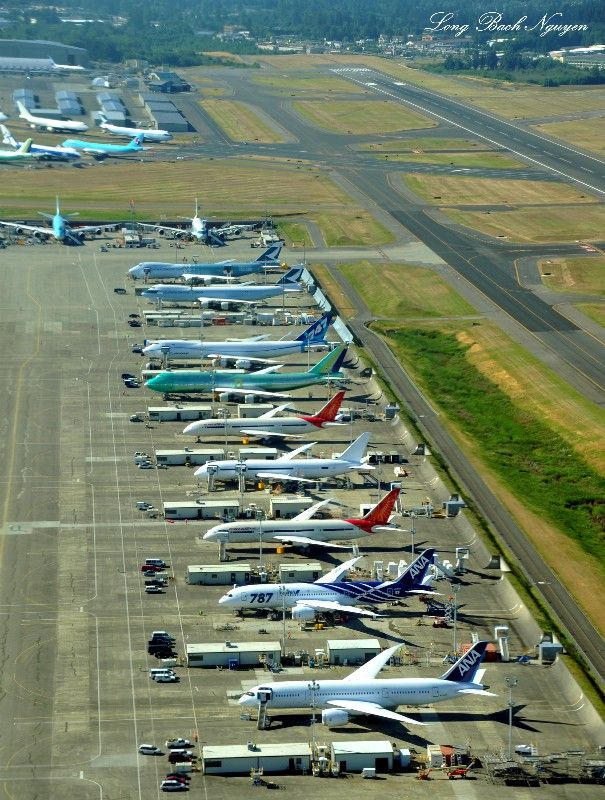 The Boeing Everett Factory in Everett, Washington. Located on the northeast corner of Paine Field, it is the largest building in the world by volume at 13,385,378 m3 (472,370,319 cu ft) covers 399,480 m2 (98.3 acres). It is where Boeing 747s, 767s, 777s, and the new 787 Dreamliner are built.