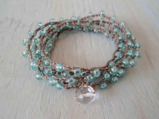 Crochet and bead bracelet by debbie starrett