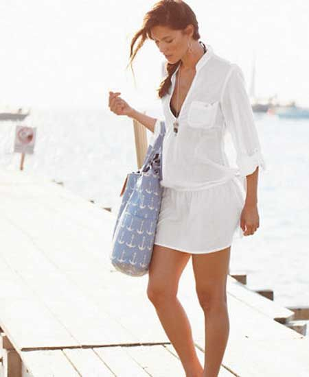 White cute swimsuit coverup