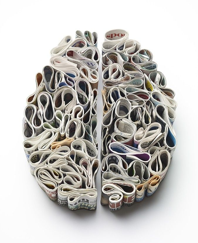 Brains Made of Toothpaste, Newspaper and Food by Kyle Bean illustration food brains anatomy ~ Designer Kyle Bean (previously here and here) just finished this fun series of brains for Men's Health magazine. Bean is known for his handcrafted commercial and editorial work for a number of large brands involving set design, sculpture, and illustration.