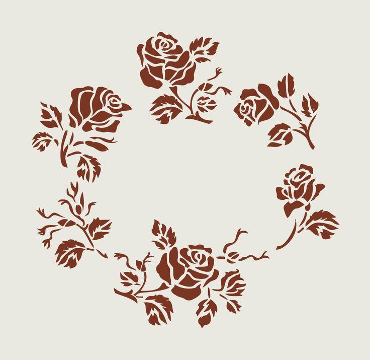 Pochoir en vinyle adhésif. Couronne de roses (ref 40) : Décoration d'intérieur par larabesque