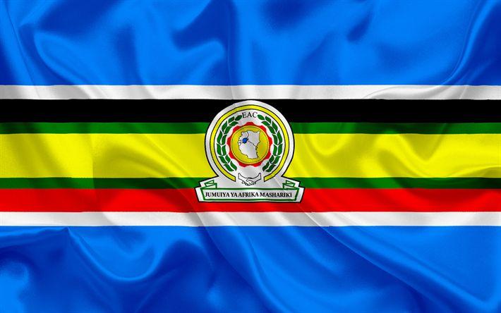 Descargar fondos de pantalla La bandera de la CAO, la Comunidad de África Oriental, la organización de África, de seda, de la bandera, el escudo
