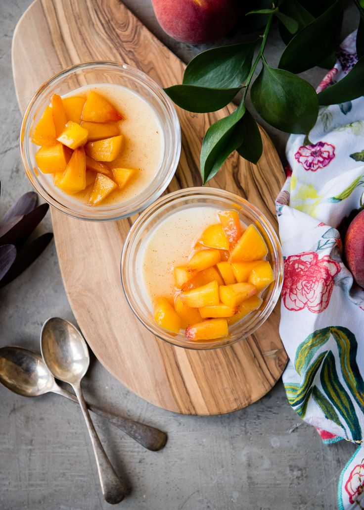 Dessert For Two: Buttermilk Panna Cotta with Peach Compote