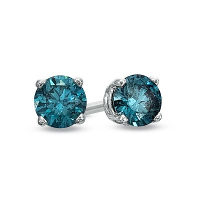 1/2 CT. T.W. Enhanced Blue Diamond Solitaire Stud Earrings in 10K White Gold - Zales - hubby got me addicted to these candy colored diamonds just beautiful