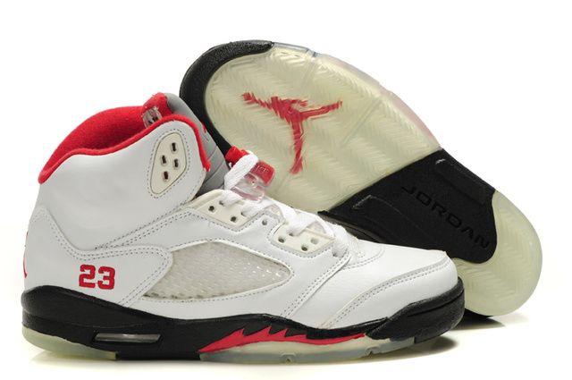 Womens Nike Air Jordan 5 White Black Red Shoes ZzOJ8DV