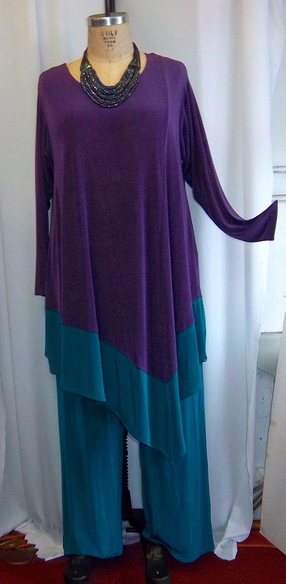Coco and Juan Plus Size Lagenlook Purple Teal by COCOandJUAN, $38.00