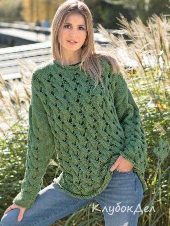 пуловер с узором из «кос»