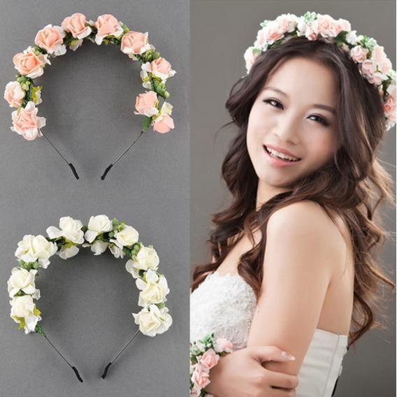 Цветочной гирляндой цветочные свадебные повязка на голову лента для волос свадебные ну вечеринку выпускного вечера обруч аксессуары для волос(China (Mainland))